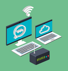 computer laptop wifi internet cloud router vector image