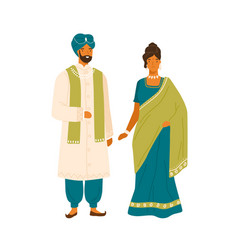 couple in national india costume flat vector image