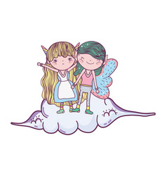 Cute little fairies couple in the clouds vector