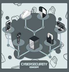 Cybersecurity color concept isometric icons vector