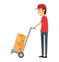 delivery worker with cart vector image