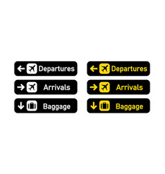 Departures arrivals and baggage sign airport sign vector