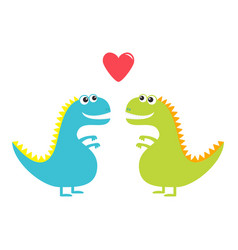 dinosaur love couple set isolated on white vector image