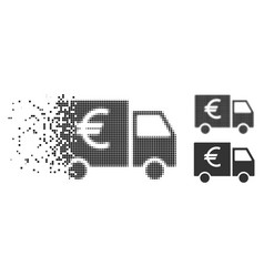 Disappearing dot halftone euro car icon vector