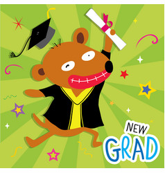Dog animal congratulation new graduate cute cartoo vector