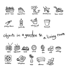 Doodles of objects in garden and living room vector