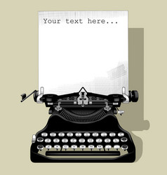 drawing old typewriter with a paper in black vector image