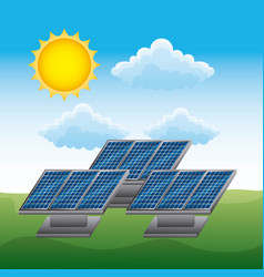 energy clean- panel solar renewable sustainable vector image