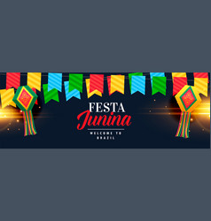 festa junina celebration banner design vector image