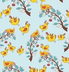 Festive Birds on a Branch Background vector image