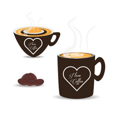 flat set icon beans and cup of coffee vector image