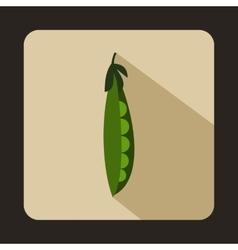Fresh green peas icon flat style vector image