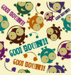 funny boy with headphones seamless pattern vector image
