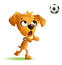 funny yellow dog goalkeeper catches soccer ball vector image