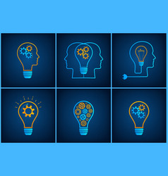 gear head lightbulb creative teamwork concept set vector image