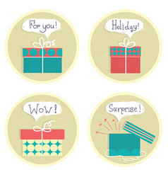 Gift boxes set color presents with text isolated vector