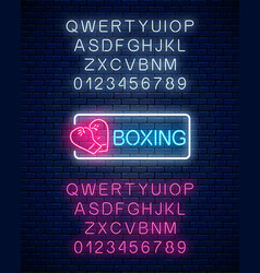 glowing neon boxing club sign in rectangle frame vector image