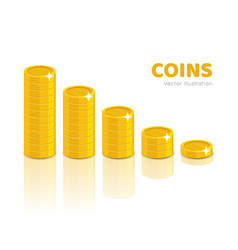 gold coin piles cartoon style isolated vector image