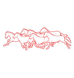 group seven horses running cartoon graphic vector image