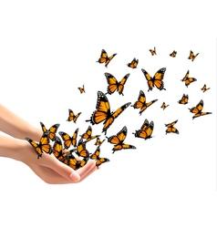 Hands releasing butterflies vector