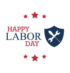 happy labor day with shield and working tools vector image