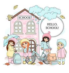 hello school autumn color vector image