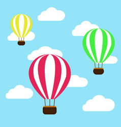 hot air balloon in the clouds background vector image