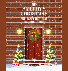 house door decoration for the christmas vector image