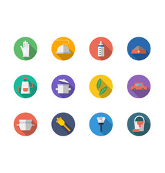 housekeeping staff flat round icons set vector image