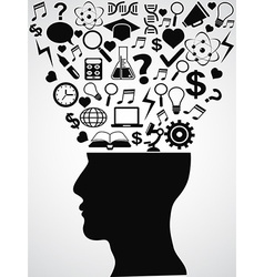 human head with creative ideas vector image