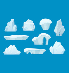 Iceberg cartoon antarctic ice white rocks winter vector