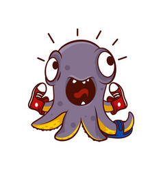 Icon of funny screaming octopus with pair vector