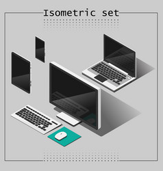 Isometric set notebook monoblock mobile tablet vector