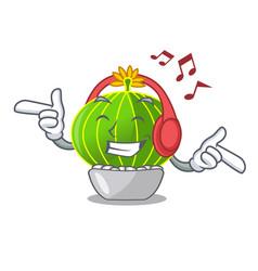 Listening music cartoon notocactus fuscus with vector