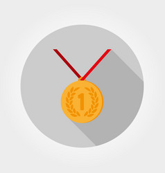 Medal first place icon flat vector