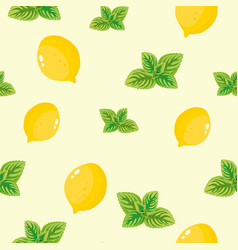 mint leaves and yellow lemon pattern vector image