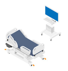 Mobile hospital bed and medical equipment vector
