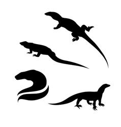 Monitor lizard silhouettes vector