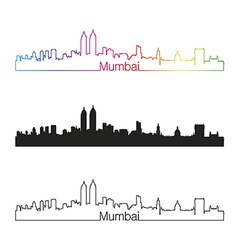 Mumbai skyline linear style with rainbow vector image
