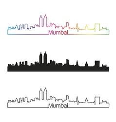Mumbai skyline linear style with rainbow vector