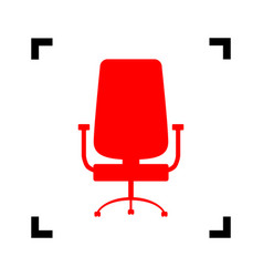 office chair sign red icon inside black vector image