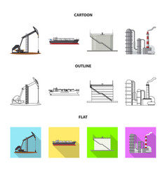 oil and gas symbol set of vector image