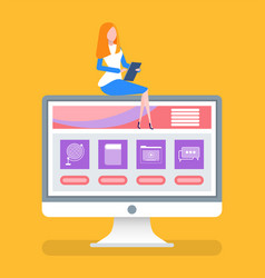 online courses with page and files for education vector image
