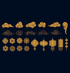 oriental elements asian gold traditional vector image