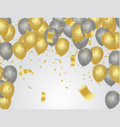 Party banner with golden balloons and serpentine vector