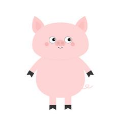 Pig hog swine sow animal cute cartoon funny baby vector