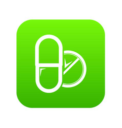 pill tablet icon green vector image