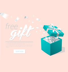 Promo banner with open gift box and silver vector