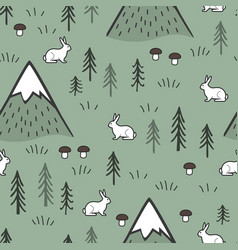 rabbit and mountains seamless pattern background vector image