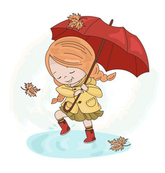 Rain girl autumn fall umbrella season illus vector